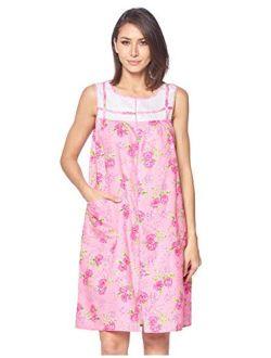 Casual Nights Women's Zip Up House Dress Sleeveless Duster Robe Housecoat Sleep Lounger