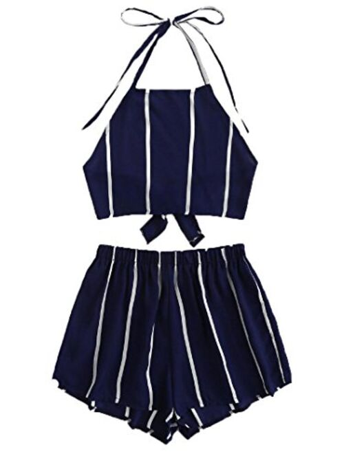 SweatyRocks Women's 2 Piece Outfits Halter Sleeveless Crop Cami Top with Shorts