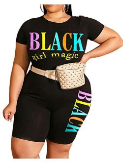 Plus Size Short Sets - Stretchy Two Piece Outfit Plus Size T Shirt Tops + Shorts Joggers