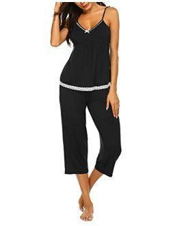 Womens Pajamas Set V-neck Cami Top And Capris Pants Sleepwear Pjs Set S-xxl