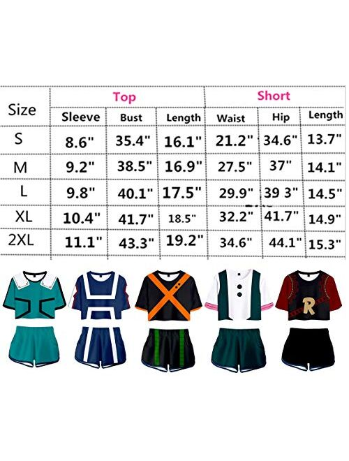 My Sky 2 PieceBoku No Hero Outfits for Women Crop Top and Short Pants Sets