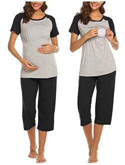 Double Layers Labor/delivery/nursing Maternity Pajamas Capri Set For Hospital Home, Baseball Shirt,adjustable Size
