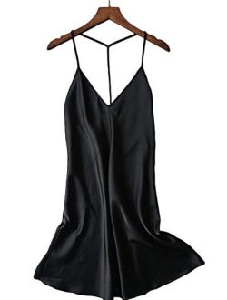 Kaei&Shi Silky Satin Nightie,Backless Lingerie for Women,Loose Sleepwear,Mini Nightgown,Spaghetti Strap Chemise