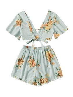 Women's 2 Piece Boho Butterfly Sleeve Knot Front Crop Top With Shorts Set