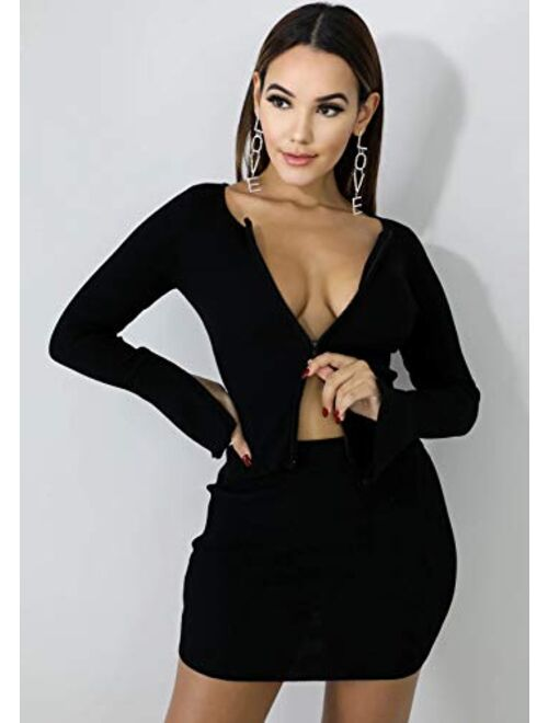 XLLAIS Ribbed Tops and Skirts Sets Double Zipper Tracksuits Women 2 Piece Outfits