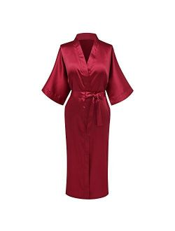 goodmansam Women's Plain Color Satin Kimono Robes Elegant Style Nightgown,Long