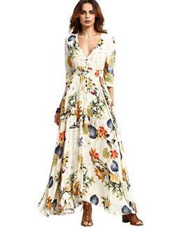 Milumia Women's Button Up Split Floral Print Beige Flowy Party Maxi Dress