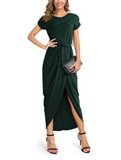Women's Short Sleeve Summer Dresses Elastic Waist Slit Casual Long Maxi Dress With Belt