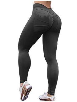 Women's High Waist Ruched Butt Lifting Booty Enhancing Yoga Pants Leggings