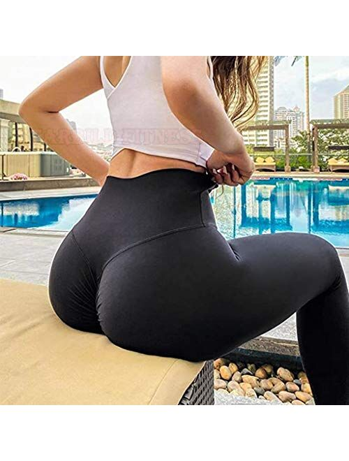 STARBILD Women High Waist Scrunch Ruched Butt Lifting Leggings with Pockets Tummy Control Push Up Workout Yoga Pants