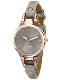 XOXO Women's Analog Watch with Rose Gold-Tone Case, Gray Sunray Dial, Narrow Gray Leather Strap - Official XOXO Woman's Rose-Gold Watch - Model: XO3400