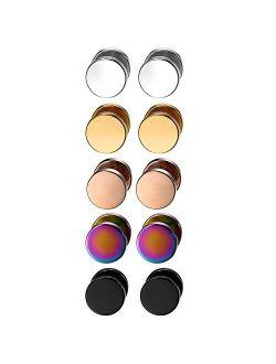 Aroncent 12PCS 6 Pairs 4-14mm Stainless Steel Black Stud Earrings Set Faux Fake Gauges Earrings Fake Ear Plugs Earrings