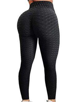 AEEZO Booty Leggings for Women Textured Scrunch Butt Lift Yoga Pants Sexy Workout High Waisted Anti Cellulite Brazilian Pants
