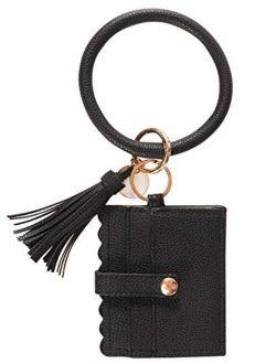 KraftyChix Wristlet Bracelet Keychain Wallet, ID Card Holder Purse with PU Leather Tassel Bangle Key Ring for Women Girls