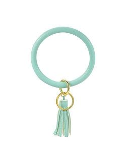 Lateefah Wristlet Keychain Bracelet Bangle Keyring Round Key Ring Keychain Gift Keyring Bracelet For Women Girls Leopard