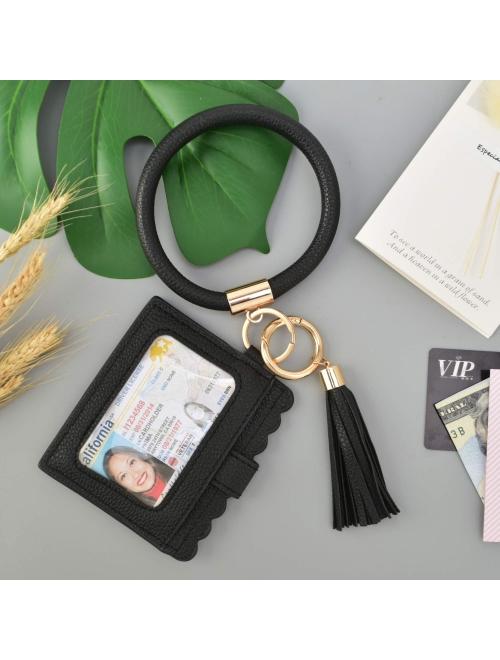 Coolcos Large Circle Bangle Keychain Wallet - Upgraded ID Card Holder Keyring Wristlet Bracelet Key Ring Chain Purse Women