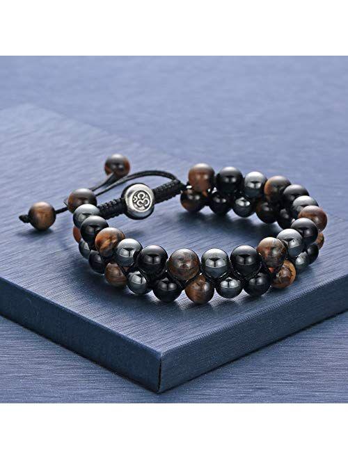 Lava Rock Bracelet Bead Bracelet -8MM Tiger Eye Bracelet Essential Oil Diffuser Healing Natural Stone Bead Bracelet Adjustable Chakra Unisex Yoga Bracelets