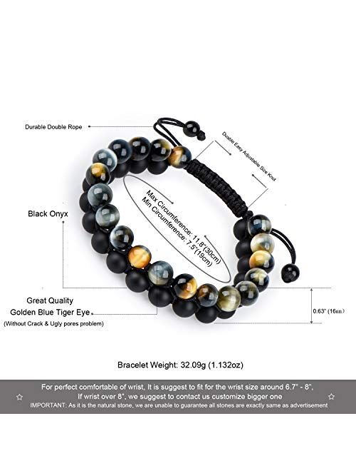 Tiger Eye Stone Bracelet Men Women - Natural Energy Stone Essential Oil Lava Rock Black Onyx Tiger Eye Beads Bracelet Adjustable Couples
