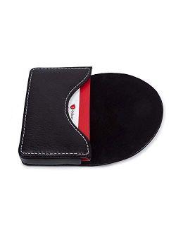 Leather Business Card Holder for Men Women, UBAYMAX Business Name Card Case Credit Card Holder Slim Card Wallet Carrier Leather Card Pocket Card Holder with Magnetic Shut