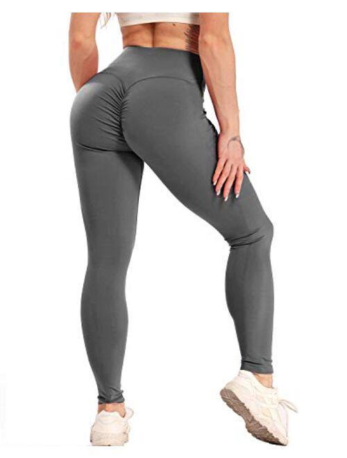 FITTOO Women Butt Lift Ruched Sport Workout Sexy High Waist Tight Leggings