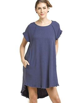 Umgee Lovable High Low Dress! The Solid is Linen and The Stripe is Cotton