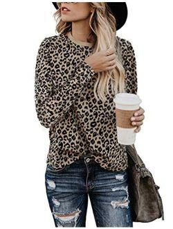 BMJL Women's Casual Leopard Print Tops Long Sleeve T Shirt Cute Blouse Graphic Tees