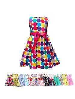 Abalaco Girls Kids 100% Cotton Soft Grid Summer Short Sleeve Sundress Casual Toddler Tutu Party Dress