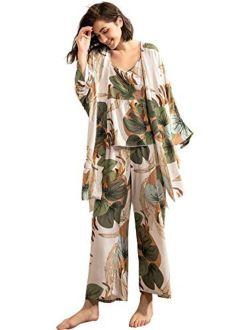 WDIRARA Women's Sleepwear 3Pieces Leaf Print Cami and Pants Pajama Set with Robe