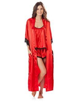 Ashford & Brooks Women's 3Pieces Satin Long Robe and Pajama Set