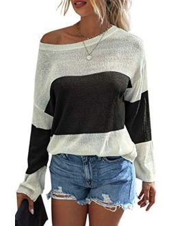 Angashion Womens Color Block Long Sleeve Sweatshirt Crew Neck Lightweight Pullover Beach Cover Loose Knit Sweater Tops
