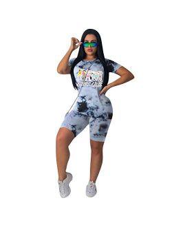 Fastkoala Women's 2 Pieces Outfits Clubwear Colorful Tie Dye Hooded Crop Top Shorts Joggers Tracksuit Sportswear Set