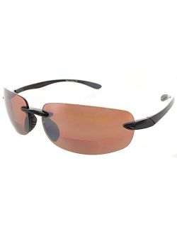 Fiore Island Sol Bifocal Sunglasses Rimless TR90 Sun Reading Glasses Bi Focal Readers For Men And Women | 100% UV Protection
