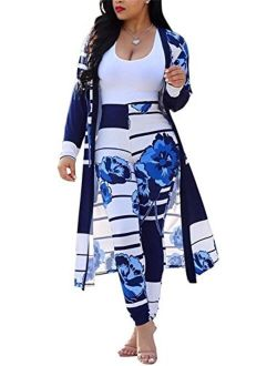 VLUNT Womens 2 Piece Outfits Floral Print Open Front Cardigan and Pants Clubwear Set