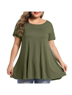 BELAROI Women's Short Sleeve Tunic Tops Plus Size Summer T Shirt for Leggings
