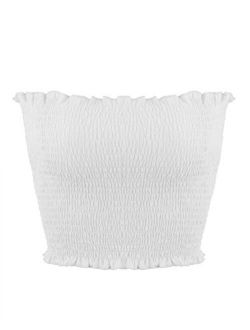 Sweetbei J Womens Strapless Pleated Summer Sexy Bandeau Tube Crop Tops
