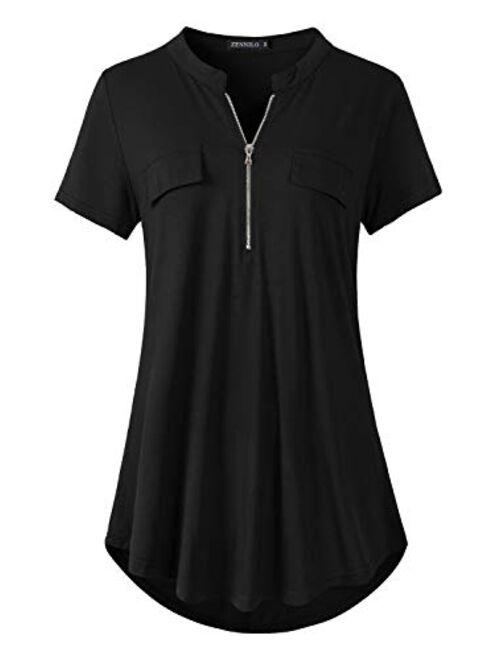 ZENNILO Womens Shirt Zip Plaid V Neck Short Sleeve Casual Summer Tunic Tops Blouse