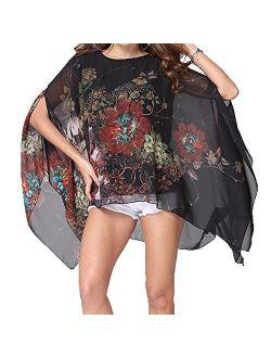 Qunsia Women's Chiffon Caftan Poncho Tunic Top Cover up Batwing Blouse