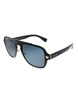 Medusa Charm Ve 2199 100281 Black Plastic Aviator Sunglasses Grey Polarized Lens