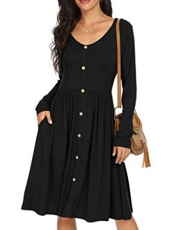 Women's Long Sleeve Button Casual Plain Swing Dresses Wasp Down A-line Dress With Pockets