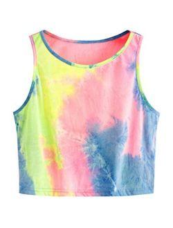 Women's Tie Dye Sleeveless Workout Casual Cropped Tank Top Shirts