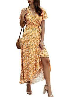 Women's Boho V Neck Ruffle Floral Wrap Maxi Dress