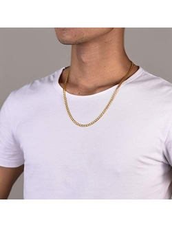 PROSTEEL Stainless Steel Cuban Chain Necklaces/Bracelets for Men Women, Black/18K Gold Plated, Nickel-Free, Hypoallergenic Jewelry, 4mm-13mm, 7.5