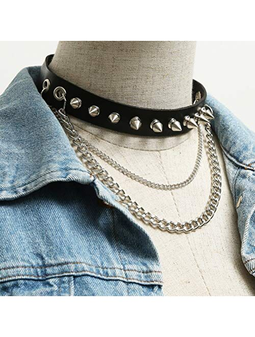 HZMAN Fashion Women Men Cool Punk Goth Metal Spike Studded Link Leather Collar Choker Necklace