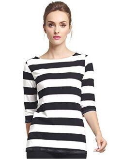 Camii Mia Women's 3/4 Sleeves Cotton Stripe T-Shirt