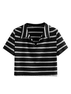 Women's Collar Half Button Short Sleeve Striped Crop Top T-shirts