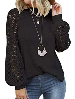 MIHOLL Womens Long Sleeve Tops Lace Casual Loose Blouses T Shirts