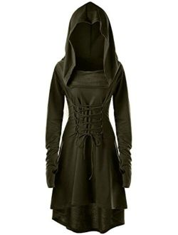 Gemijack Womens Renaissance Costumes Hooded Robe Lace Up Vintage Pullover High Low Long Hoodie Dress Cloak