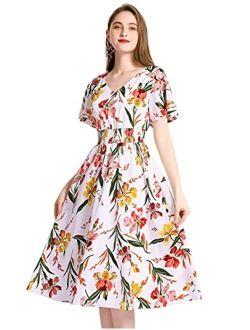Gardenwed Floral Chiffon Dresses for Women Flowy Homecoming Cocktail Dress Casual Beach Sun Dress
