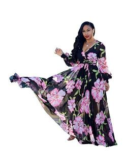 lvenzse Womens Maxi Dress Boho Chiffon Floral Printed Long Party Dresses Plus Size with Belt (FBA)