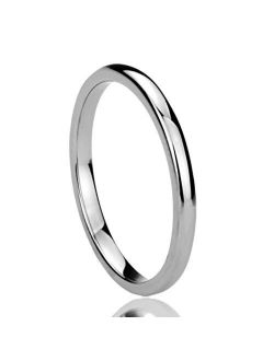 2mm 4mm 6mm 8mm Stainless Steel Silver/Gold/Black Wedding Band Ring Men Women Plain Dome Polished Classici Comfort Fit Band Ring